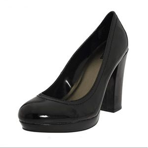 Unlisted by Kenneth Cole Patent Chunky Heel Pumps